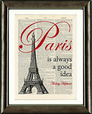 Old Antique Dictionary page Art Print - Paris Is Always a Good Idea Quote Print