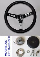 "1965-1969 Ford Mustang Grant Black Steering Wheel 13 1/2"" Cast Running Horse Cap"