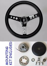 "new-out of box 65-69 Mustang Grant Black Steering Wheel 13 1/2"" Cast Horse Cap"