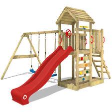 WICKEY MultiFlyer Spielturm Kletterturm rote Rutsche Holzdach Spielhaus Garten