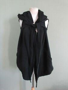 RICK OWENS black 100% cotton sleeveless oversized hoody US S