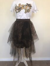 Tulle Skirt In Black/Brown #Size S/M#New