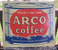 VINTAGE METAL ARCO COFFEE SIGN ANDRESEN - RYAN COFFEE COMPANY DULUTH MINNESOTA