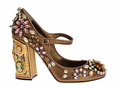 DOLCE & GABBANA Coco Bronze Napa Mary Jane Pump Shoe Cameos Crystals 40/10