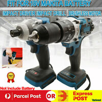 Cordless Brushless Impact Wrench Driver Tool Replace Body For Makita 18V Battery