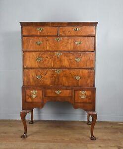 Antique Queen Anne walnut chest on stand circa 1700
