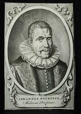 Gravure XVIIe Iohannus Heurnius Johan Van Heurne médecin philosophe hollandais