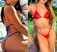 COQUETA Brazilian mini STRIPED MICRO Thong bikini Swimsuit G String NEW SET sexy