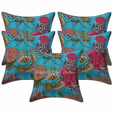 Indian Decorative Sofa Cushion Covers 16x16 Printed Kantha Cotton Pillow Cases