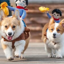 Dog Cowboy Rider Pet Clothes Apparel Puppy Coat Costume Cosplay Jacket Dress Up