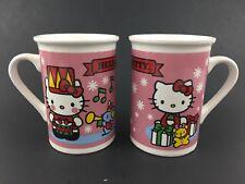 Christmas Sanrio Hello Kitty Snow Mug Snowflakes Musical Notes Drum Mouse Lot X2