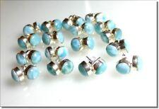 Excellent Sky Blue Larimar .925 Sterling Silver Stud Earrings (1) one pair 10mm