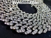 Details about  /Mens Miami Cuban Link Chain or Bracelet VVVS Lab Diamond FULLY ICED Silver IP