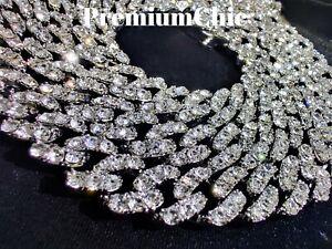Mens Miami Cuban Link Chain or Bracelet VVVS Lab Diamond FULLY ICED Silver IP