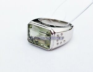 Green Amethyst Natural Gemstone with 925 Sterling Silver Statement Ring EG209