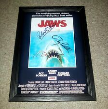 "JAWS CASTX3 PP SIGNED & FRAMED 12""X8"" A4 POSTER AUTOGRAPHED ROY SCHEIDER"