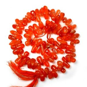"100% Natural Carnelian 11x6 mm Tear Drops Shape Gemstone Beads Size 13"" NN-612"