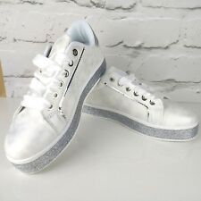 Designer Inspired Womens Ribbon lace up glitter Sparkly Trainers Sneakers