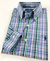 Ralph Lauren Men's Shirt Blue Multi Check Performance Poplin Stretch