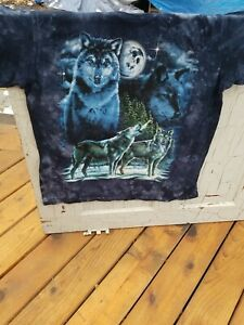 Vintage Back To Earth Nature Wear New. Hand Tie Dye T Wolf LS Shirt XL  USA