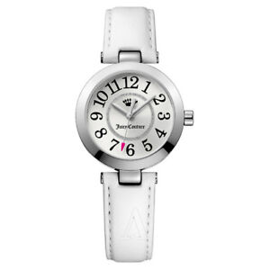 Juicy Couture Round Silver Diamante Watch White leather strap  BNIB