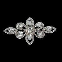 Silver Crystal Patch Diamante Motif Applique Rhinestone DIY Bridal Party Dress