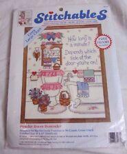 Dimensions 1993 Stitchables Powder Room Reminder Count Cross Stitch 72135 Bin Y