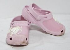 Crocs Gabe Light Pink Clogs Sandal Crocodile Logo Relief Girl's C10/11 VGC