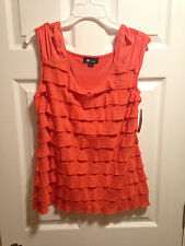 AB Studio Coral Color Sleeveless Ruffle Top Size L