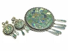 Turquoise Inlay Jewelry Set Vintage Ladies Mexico Sterling Silver