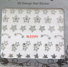 Metallic SILVER Shooting Stars Nail Art Stickers Decals Transfers NEW 059S