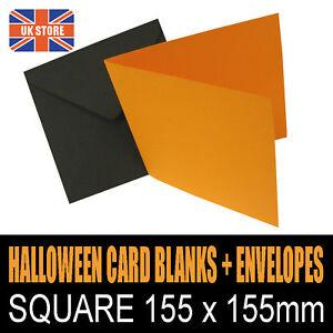 "50 x 6"" Square Halloween Orange Card Blanks with Black Envelopes"