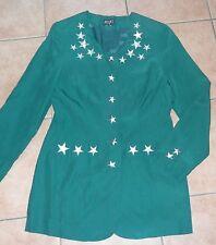 grüne Damen-Jacke Blazer 34-36 S APART Seide-Jacke Silber-Sterne Lurex Stickerei
