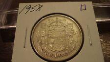 1958 Canada Silver 50 cent - circulated Canadian half dollar