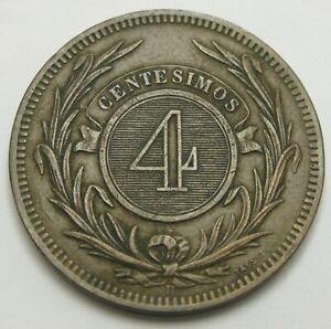 URUGUAY 4 Centesimos 1869 H - Bronze - VF - 1478
