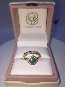 Emerald and Diamond Rose Gold Wedding Ring Set Size 5 1/2