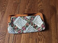 Vintage Floral Clutch Purse Tapestry Green Cream Woven Handbag Plastic Snap