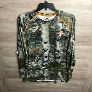 Mossy Oak Mens Size Large Camo No Fly Zone Insect Repellent Technology Long Slee