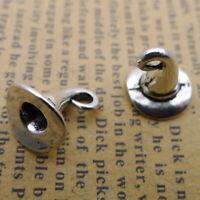 10pcs Charms Tiny Witch Hat 3D Tibetan Silver Beads Pendant DIY 11*11mm