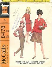 Vintage 1966 McCalls 8478 Sewing Pattern Misses' Jacket Skirt Pants Blouse Dress