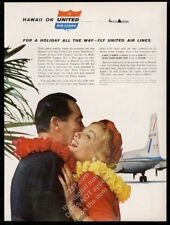 1959 United Airlines plane Hawaii couple color photo vintage print ad