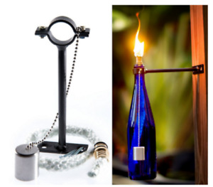 Outdoor Wine Bottle Bracket with fibreglass Wick brass Head For Kerosene & oil