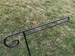 Plain Flag Holder Hook Stand Heavy Duty Black Outdoor Metal Wrought Iron Amish