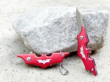 "4.25"" Red Small Mini Batman Keychain Spring Assisted Pocket Knife Folding Blade"