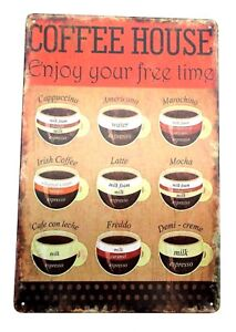 Coffee MENU METAL SIGNS  cafe pub brew garage retro poster tin vintage kitchen