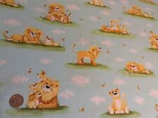 Susybee Lyon Lion Cubs Baby Aqua Animals Cotton Quilting Fabric FQ 50cm x 54cm