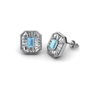 Aquamarine Diamond 1 1/4 ctw Women Milgrain Halo Stud Earrings Gold JP:242009