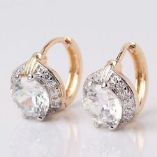18ct yellow Gold filled earrings diamond hoop White Sapphire leverback Topaz