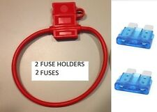 (2) 10 GAUGE ATC FUSE HOLDER With COVER + (2) 15 AMP FUSES IN-LINE 10 GA. USA