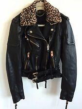 BURBERRY PRORSUM WOMENS AW15 LEATHER BIKER JACKET FUR COLLAR NEW WITH TAGS COAT